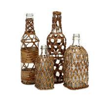 Manitoba Rattan Glass Bottles - Set of 4