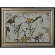 Abstract Jockeys - Framed Oil