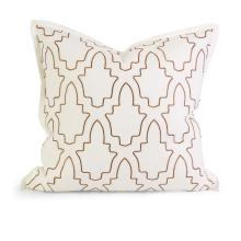 IK Eliso Taupe Embroidered Linen Pillow w/ Down Fill