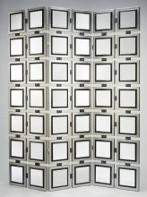 Panel Mirrored Screen 22.5x82''x3pls Finish: Silver And Black. Mirror Insets