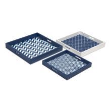 Essentials Graphic Marine Blue Trays - Set of 3