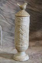 White Cylindrical Canister W/ Bird Top-l
