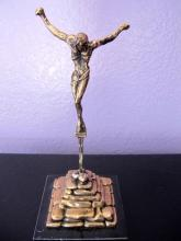 Salvador Dali 1974 Christ Of St. John Of The Cross 24k Gold Bronze Signed Sculpture