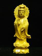 Yellow Jade Standing Kwanyin