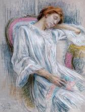 Marie Louise Catherine Breslau - A Young Woman Asleep In A Chair