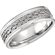 14kt White Hand-Woven 7.5mm Comfort Fit Band Size 10