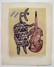 Max Papart Le Violoncelliste Hand Signed Limited Edition Etching On Arches Paper