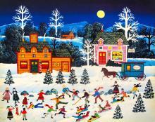 Jane Wooster Scott Frosty Frolics Serigraph Art