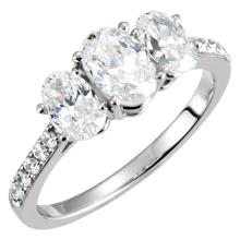 14kt White 1 9/10 CTW Diamond 3-Stone Engagement Ring