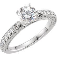 14kt White Cubic Zirconia & 3/8 CTW Diamond Sculptural Engagement Ring Size 7