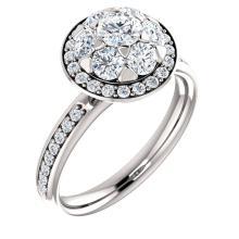 14kt White 1 1/8 CTW Diamond Engagement Ring