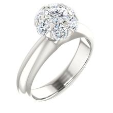 Continuum Sterling Silver 1 1/5 CTW Diamond Cluster Engagement Ring