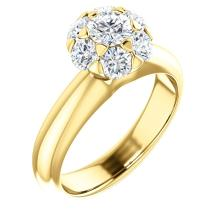 14kt Yellow 1 1/5 CTW Diamond Cluster Engagement Ring