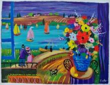 Shlomo Alter Lakeside Festivities Hand Signed Limited Edition Serigraph