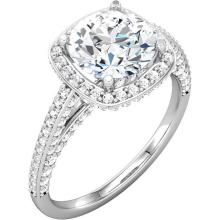 Continuum Sterling SilverCubic Zirconiz & 5/8 CTW Diamond Engagement Ring
