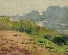 LAUVRAY (1870-1950) . Les berges. Huile sur toile