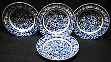 Mintons Hawthorn Flow Blue plates, lot of 4