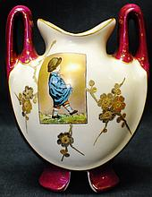 Continental hand painted vase  with two handles