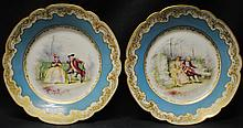 Pair of 1901 Limoges Elite signed royal scene plates