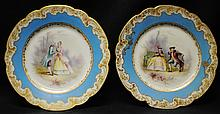 Pair of Sevres signed royal scene plates