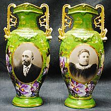 Pair of Carlsbad portrait vases