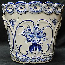 Blue and white hand painted planter, Portugal