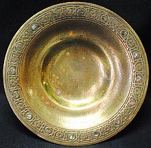 Tiffany Studios bronze plate with inlaid abalone decoration