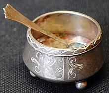 Imperial Russian 84 silver open footed salt with spoon