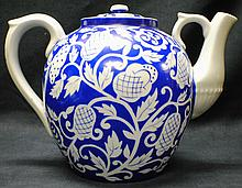 Russian rare Dulevo factory Blue and white Teapot