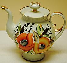 Russian mid 1900's large hand painted teapot