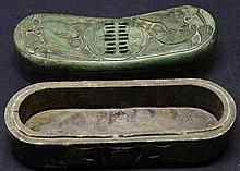 Oriental stone carved Head rest with incense burner