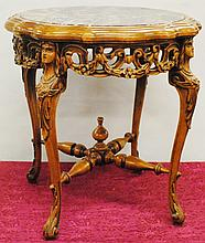 Hardwood carved side table with marble top