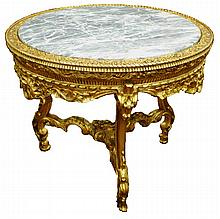 Carved Italian table with marble top
