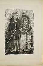 "Anatoli Kaplan (Russian, 1898 – 1980) ""Bride and Groom"" lithograph"