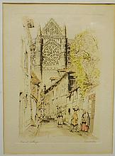 "R. Cervenka ""French Village"" etching"