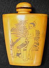 Scrimshaw snuff bottle with erotic scenes