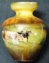 Miniature German Duerer Ware vase with cows