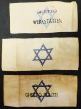 Lot of 3 Holocaust armbands from Jewish Ghetto