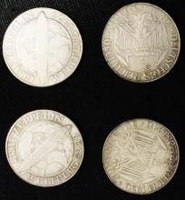 Lot of 4 German Zeppelin coins