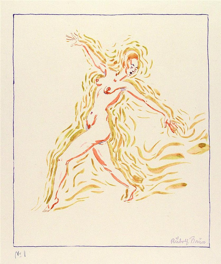 RUDOLF BAUER - Color lithograph
