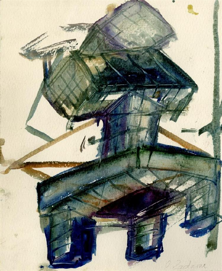 OSSIP ZADKINE - Watercolor and gouache drawing