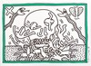 KEITH HARING [after] - Color drawing (green and black markers)