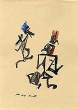 MAX ERNST - Oil pastel or crayon drawing on paper