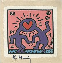 KEITH HARING - Original color silkscreen on canvas