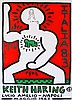 KEITH HARING - Original black marker drawing on color lithograph