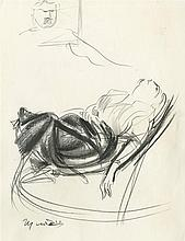 GIACOMO MANZU - Original oil charcoal drawing