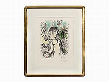 Marc Chagall, Color Lithograph, Nu au Visage double, 1983