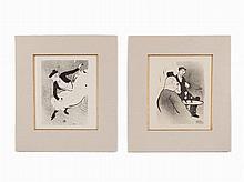 Henri de Toulouse-Laurtrec, Two Lithographs, 'Le Café Concert'