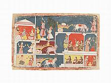 A Wagon is Prepared for Krishna, Malwa/Central India, c. 1670