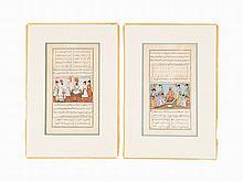 Two Folios from the Anwar-i-Suhaili, Persia/Qajar, c. 1840